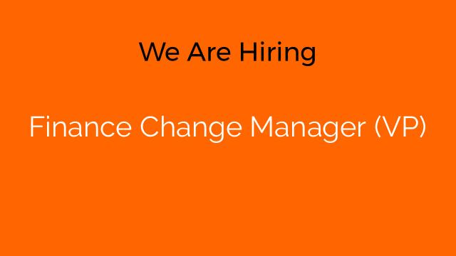 Finance Change Manager (VP)