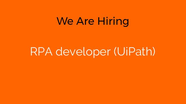 RPA developer (UiPath)
