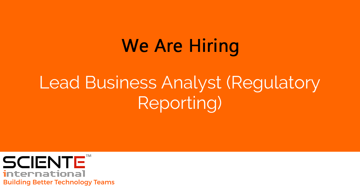 Lead Business Analyst (Regulatory Reporting)