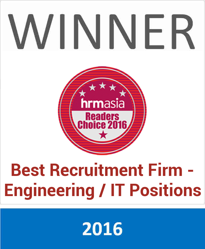 Voted the Best Recruitment Firm - Engineering / IT Positions at HRM ASIA Readers Choice Awards 2016