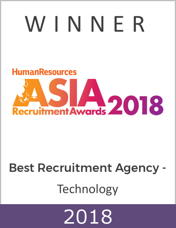Voted the Best Recruitment Agency - Technology at ASIA Recruitment Awards 2018 - 3rd time in a row